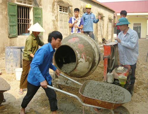 cách dùng máy trộn bê tông