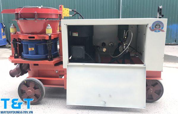 Máy phun vẩy bê tông HSP7 có công suất 6-7m3/h, khả năng bơm xa30m, bơm cao 20m