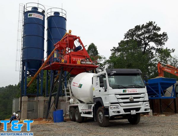 Trạm trộn bê tông 60m3/h phễu cấp liệu PLD 1600