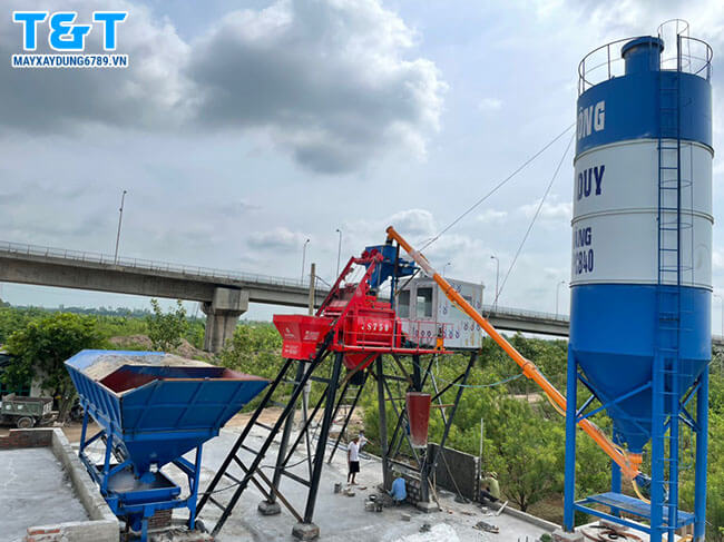 Trạm trộn bê tông xi măng 130m3/h chính hãng